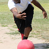 Lynn, Ma. 8-27-17. Jamaal Boyd pitching at Barry Park in Lynn during a Kickball tournament to benefit West Lynn Pop Warner.
