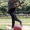 Lynn, Ma. 8-27-17. Dina Waverzwa pitching at Barrry park during a kickball tournament to benifit West Lynn Pop Warner.