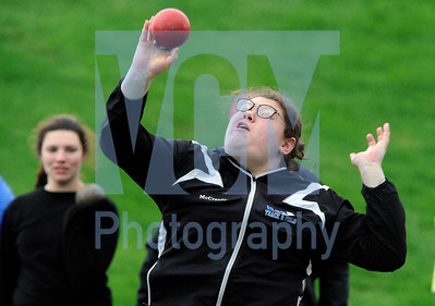 Jeb Wallace-Brodeur / Staff Photo U-32's Molly McCreedy throws for a victory in the shot put Wednesday at the annual Monster Meet at U-32 High School.