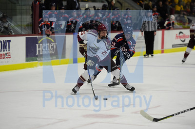 Jeb Wallace-Brodeur /Staff Photo Norwich University sophomore Jordan Hall handles the puck as Hobart College senior Andrew Silard defends during the first period of their game Friday.