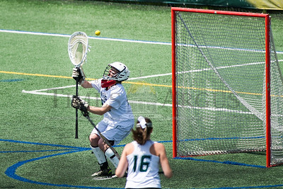GMVS's goalie Molly Quinlan just misses a save on a U-32 goal during Saturday's Division Two Championship matchup at UVM.  Josh Kuckens/Staff Photo