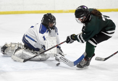 U-32 freshman goalie Jin Clayton makes a save on Rice freshman Vittoria Pizzagalli during the first period of their game Wednesday.