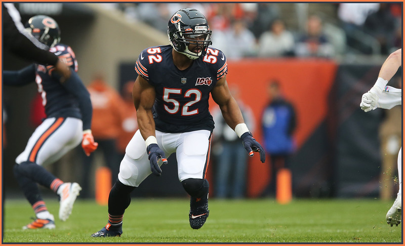 Chicago Bears linebacker Khalil Mack comes around end during a game against the New Orleans Saints, Chicago, Illinois, October 20, 2019. | Allen Cunningham / for Chicago Sun-Times
