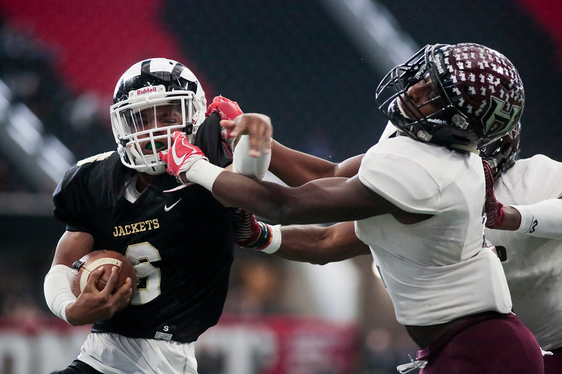 Nadav Soroker/Times-Georgian<br /> <br /> The Heard County Braves defeated the Rockmart Yellowjackets to take home the GHSA AA championship trophy at Mercedes-Benz Stadium on Wednesday, December 12, 2018.
