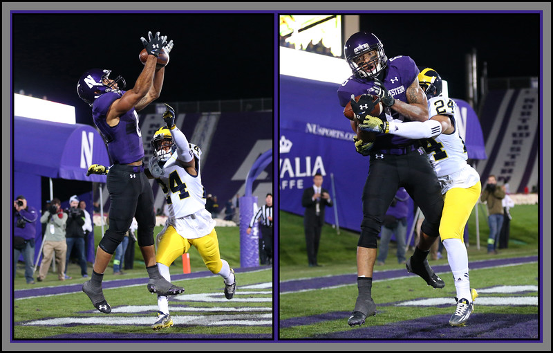 Northwestern's Tony Jones (6) catches a pass for a touchdown with three seconds left in the game despite the defensive effort of Michigan's  Delonte Hollowell (24), Evanston, Illinois, November 8, 2014. photo credit: Allen Cunningham