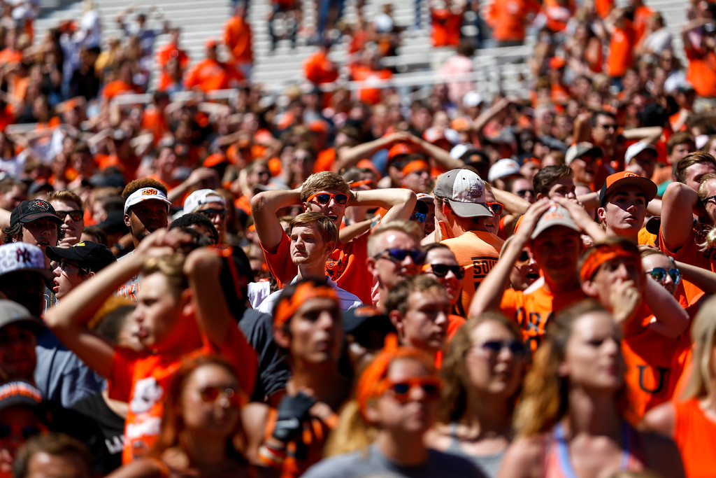 The Oklahoma State University Cowboys vs the Central Michigan Chippewas in NCAA Football In Boone Pickens Stadium on September 10, 2016. Photos by Mitchell Alcala