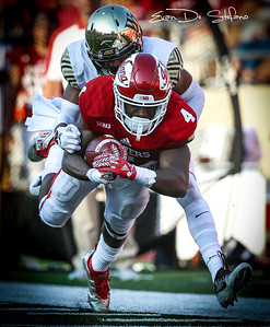 Wide Receiver Ricky Jones (4) catches the ball, scoring a touch down during the IU vs. Wake Forrest football game at Memorial Stadium on Sept. 24, 2016. The Hoosiers fell to Wake Forrest 28-33.