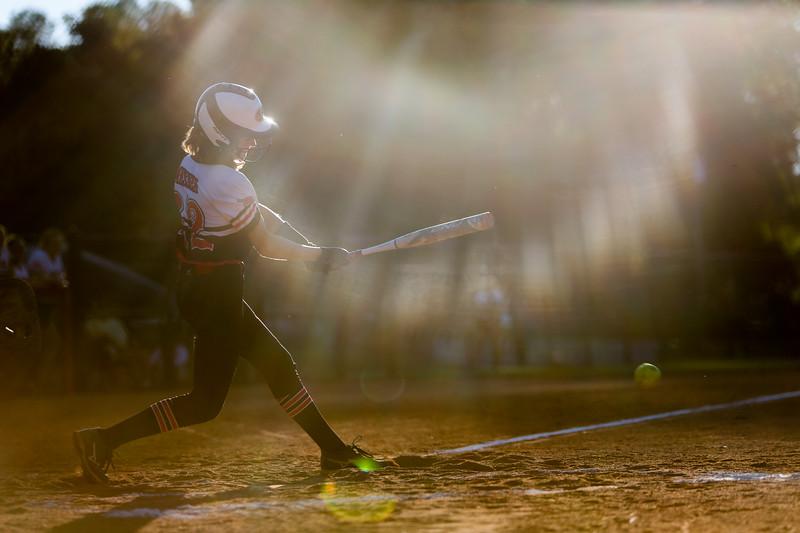 Nadav Soroker/Times-Georgian<br /> <br /> Bowdon's Anna Messer hits a ground ball against Trion, at Bowdon High School, on Tuesday, September 18, 2018.