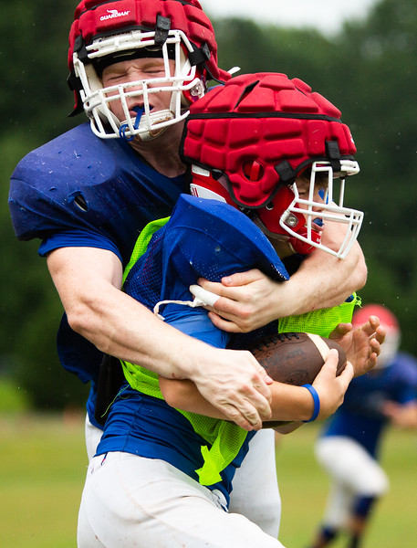 Nadav Soroker/Times-Georgian<br /> <br /> The Holy Ground High School football team practices at Tanner Beach Road athletic complex, on Wednesday, August 1, 2018.
