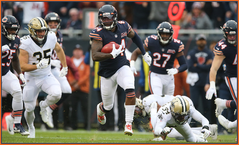 Chicago Bears' Cordarrelle Patterson (84) returns a kick 102 yards for a touchdown in the first half against New Orleans, Chicago, Illinois, October 20, 2019. | Allen Cunningham / for Chicago Sun-Times