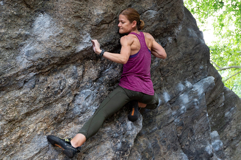 NEW YORK - July 3, 2020: for NEWS. Abby Nelson, 40, a top roper rock climber boulders scaling Rat Rock in Central Park, as all rock climbing gyms in the city are closed, during a hot muggy day before the rain on a 4th of July long weekend amid phase 2 reopening from the COVID-19 coronavirus pandemic.   Nypostinhouse (Photo by: Taidgh Barron/NY Post)