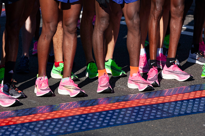 STATEN ISLAND, NY - November 3, 2019: for NEWS. Mens elite runners wearing Nike Vaporfly sneakers at the New York City Marathon. (Photo by Taidgh Barron/NY Post)