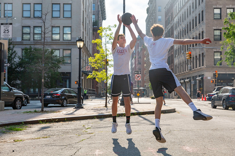 NEW YORK - June 23 2020: for NEWS. Henry B, 16, and Luc Dunlop, 17, playing basketball on Laight Street in TriBeCa on a hot sunny Tuesday amid Phase 2 of Coronavirus COVID-19 pandemic reopening. Nypostinhouse (Photo by: Taidgh Barron/NY Post)