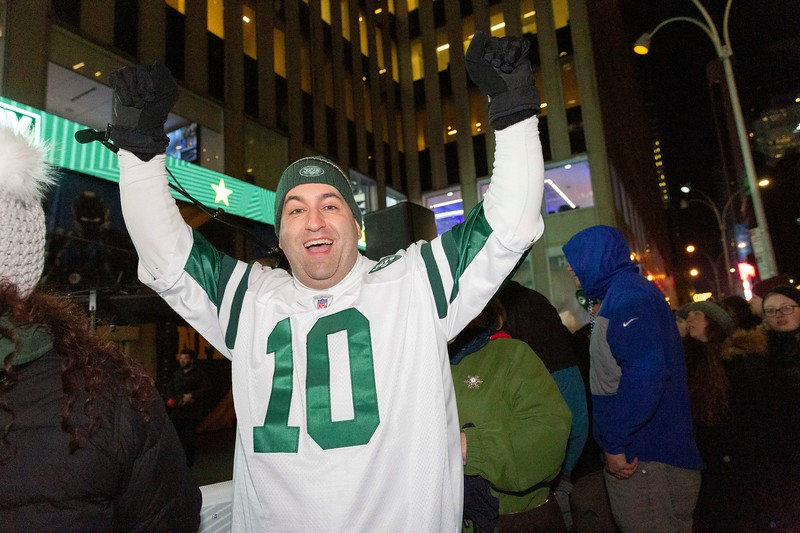 NEW YORK - December 12, 2019: for NEWS. Jets Fan Jeff Brienda, 46, of Orange County New York outside the NFL at FOX set up at 1211 Avenue of the Americas. (Photo by Taidgh Barron/NY Post)