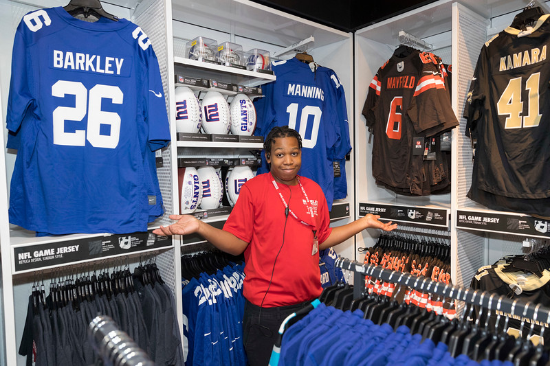 Middletown, NJ - SEPTEMBER 23, 2019: for SPORTS. Shamari, a sales associate at the Times Square Modell's shrugs as none of the Modell's locations in Midtown yet carry Daniel Jones jerseys the day after his first win as starting Quarterback for the New York Giants. (Photo by Taidgh Barron/NY POST)