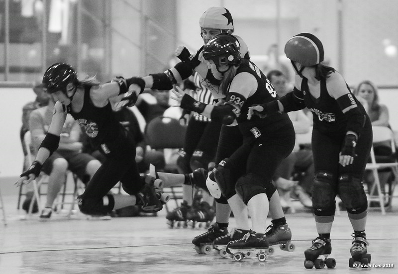 Border City Brawlers All Stars vs G-sTARs at Adie Knox Arena in Windsor, Ontario on July 19, 2014. The BCB All Stars won 157 to 116 in their first WFTDA sanctioned bout!