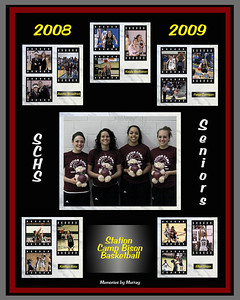 Congratulations to the 2009 Basketball Senior Women who completed a terrific season in early March, having achieved a 26 - 6 record, including:  undefeated 12 - 0 play in District 8 AA, a District 8 AA Tournament Championship and an opening round Region 4 win- This photo is a gift composite that I created to honor the 2009 Station Camp Bison Senior Women (Kayla Buchanan, Ellyn Unger, Kaitlyn Rose, Paige Carrigan) and Team Manager Austin Broadrick