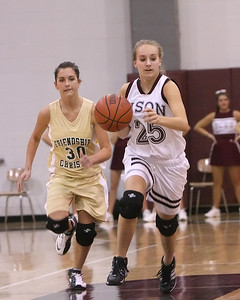 Page Carrigan drives upcourt