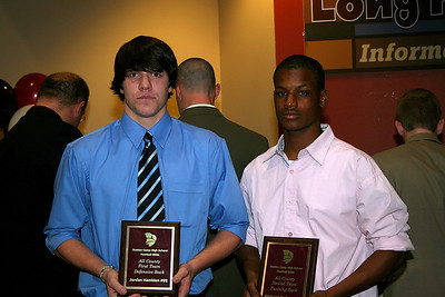 Jordan Hamblen receives the All County 1st Team Defensive Back and Richard Bailey receives the All County 2nd Team Running Back