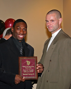 Randall Toney receives the Sumner County Offensive Most Valuable Player award from Coach Dupree