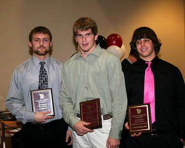Spencer Tope receives the All County 1st Team Linebacker award, Jacob Barker receives the All County 1st Team Defensive Lineman award and Seth Poskey receives the All County 1st Team Offensive Lineman award