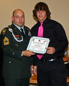 Seth Poskey receives the Annual JROTC Bison Leadership award