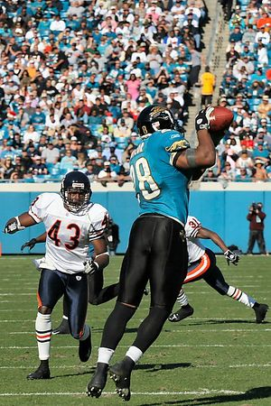Fred Taylor grabs a Bryon Leftwich pass early in the first quarter.