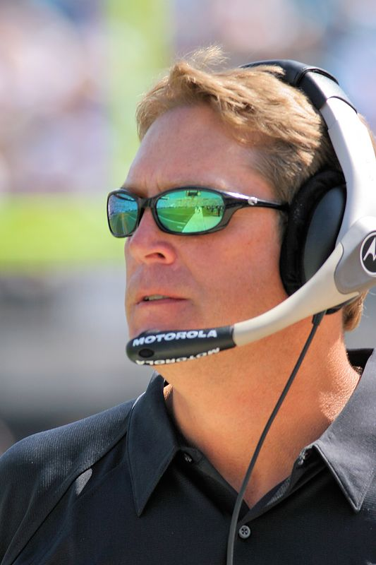 Jacksonville Jagaurs Head Coach, Jack Del Rio, looks down field as 2005 NFL Season gets underway.  The Jaguars have high hopes for this season with a revamped offense and NFL leading defense.
