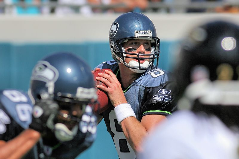 Seattle Seahawks Quarterback, Matt Hasselback, drops back to pass early in the season opener against the Jacksonville Jaguars.  Despite 21 completions for 246 yards, the Seahawks came up short, losing 26 to 14.
