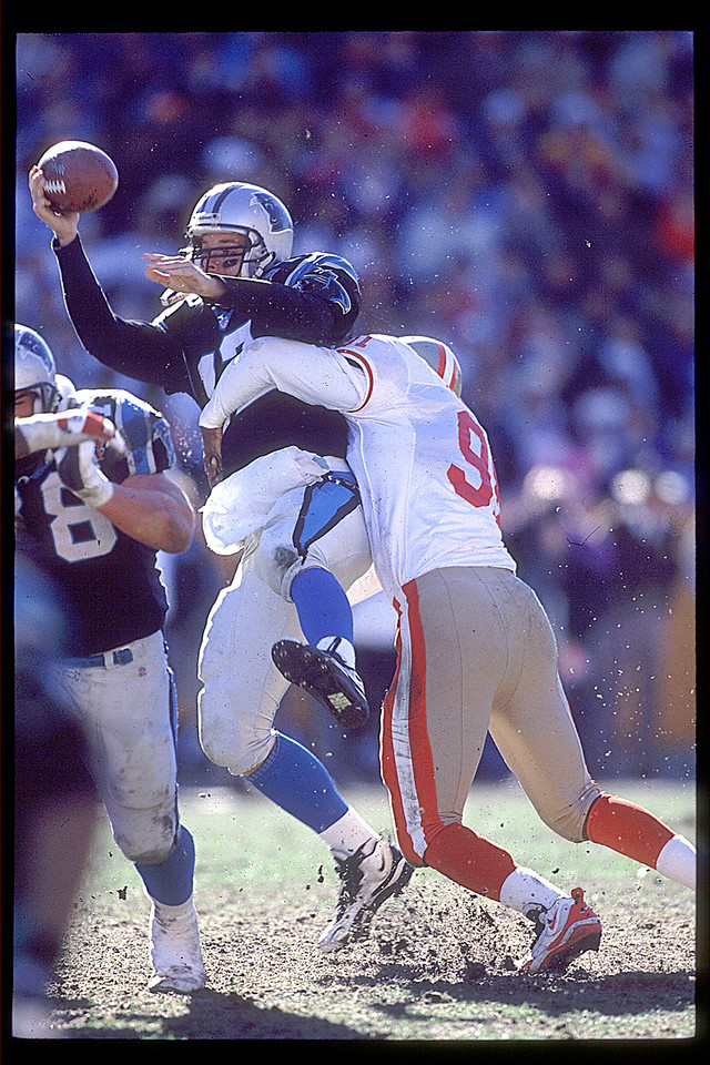 Kerry Collins Panthers QB been sack