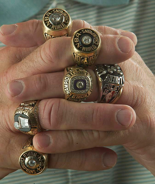 The Great Coach and Miami Heat President   Mr. Pat Riley Champion's  ring's not counting the three with HEAT