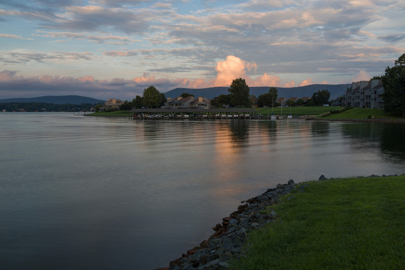 A puffy thunderhead behind Smith Mountain makes a nice backdrop in this scene on the Bernard's Landing waterfront.