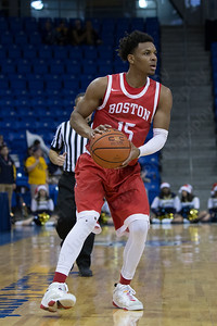 Boston University's Cheddi Mosely (15) during a game with Quinnipiac Sunday at the TD Bank Sports Arena in Hamden Dec. 13, 2015 | Justin Weekes / For the Record-Journal