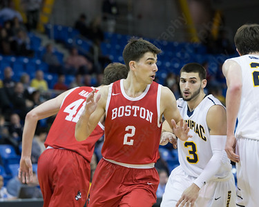 Boston University's John Papale moves through the middle Sunday at the TD Bank Sports Arena in Hamden Dec. 13, 2015 | Justin Weekes / For the Record-Journal