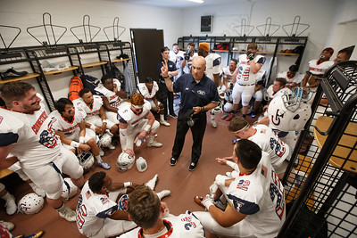 Connecticut's head coach Andy Guyon gives his pre game speech Saturday during the Governors Cup at Veterans Memorial Stadium in New Britain  June 30, 2018 | Justin Weekes / Special to the Record-Journal