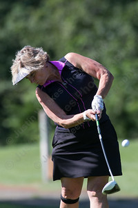 Sherri Gracia tees off on 4 Sunday during the Meriden Open Golf Tournament at Hunter Golf Club in Meriden Aug. 20, 2017 | Justin Weekes / For the Record-Journal