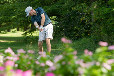 Kevin Hall tees off on 6 Saturday during the Meriden Open Golf Tournament at Hunter Golf Club in Meriden Aug. 19, 2017 | Justin Weekes / For the Record-Journal