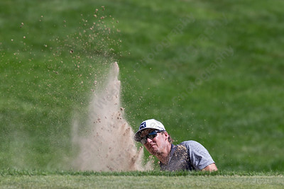 Will Mackenzie pitches out of a green side bunker on 18  Wednesday during the Travelers Championship Pro-Am at TPC River Highland in Cromwell Jun. 24, 2015 | Justin Weekes / For the Record-Journal