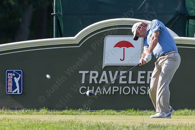 Nick Thompson tees off on the eighteen Thursday during first round play at the Travelers Championship in Cromwell  Jun. 25, 2015 | Justin Weekes / For the Record-Journal