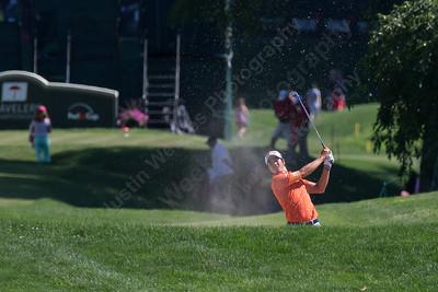Ryo Ishikawa hits out of a fairway bunker on 18 Wednesday during the Travelers Championship Pro-Am at TPC River Highland in Cromwell Jun. 24, 2015 | Justin Weekes / For the Record-Journal