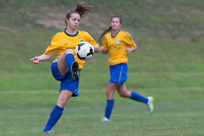 Brazil CT's Rayna Esch 15 of Wallingford settles a pass Saturday during the Wallingford Invitational Soccer Tournament at Choate Rosemary Hall in Wallingford Aug. 20, 2016 | Justin Weekes / For the Record-Journal