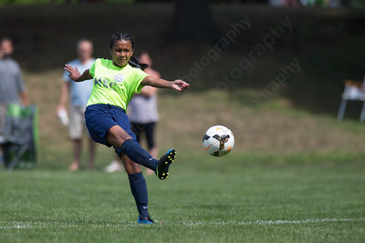 Meriden's Daisy Delgado gets a shot off Monday during the TWIST finals at Choate Rosemary Hall in Wallingford Aug. 21, 2017 | Justin Weekes / For the Record-Journal