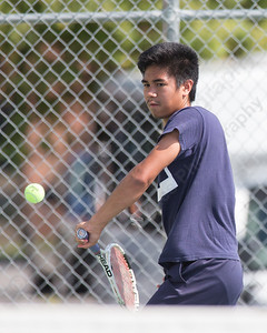 James Delgado 17 of West Haven plays a backhand volley in the high school boys match verse his brother Joseph Sunday during the Wayton Open finals at Southington High School in Southington Jul. 17, 2016 | Justin Weekes / For the Record-Journal