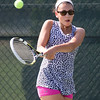 Samantha Barmore plays a backhand volley Sunday during the Wayton Open finals at Southington High School in Southington Jul. 17, 2016   Justin Weekes / For the Record-Journal