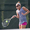 Samanthe Barmore plays a forehand volley in the women's double match Sunday during the Wayton Open finals at Southington High School in Southington Jul. 17, 2016   Justin Weekes / For the Record-Journal