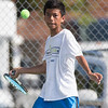 Joseph Delgado 14 of West Haven eyes a forehand volley in the high school match verse his brother James Sunday during the Wayton Open finals at Southington High School in Southington Jul. 17, 2016   Justin Weekes / For the Record-Journal