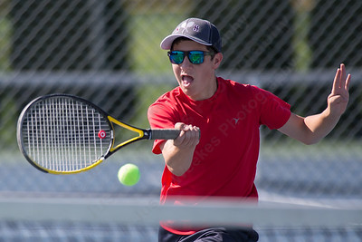 Nick Cristante 16 of North Haven plays a volley in the High School boys singles match Sunday during the Wayton Open Tennis finals at Southington High School in Southington Jul. 16, 2017 | Justin Weekes / For the Record-Journal