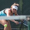 Alex Barmore plays a backhand volley in the women's doubles match with her sister Samantha Sunday during the Wayton Open finals at Southington High School in Southington Jul. 17, 2016   Justin Weekes / For the Record-Journal