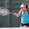 Alex Barmore plays a forehand volley in the women's doubles match Sunday during the Wayton Open finals at Southington High School in Southington Jul. 17, 2016   Justin Weekes / For the Record-Journal