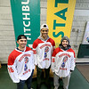 Fitchburg State University hockey players Michael Fretz from Washington, Josh Victor From Texas and Nick DiNicola from Connecticut show off the new shirts that they will be wear this Saturday during their ALS fundraiser. SENTINEL & ENTERPRISE/JOHN LOVE